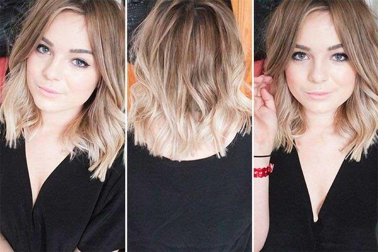 Blunt Wavy Hairstyle for Medium Hair