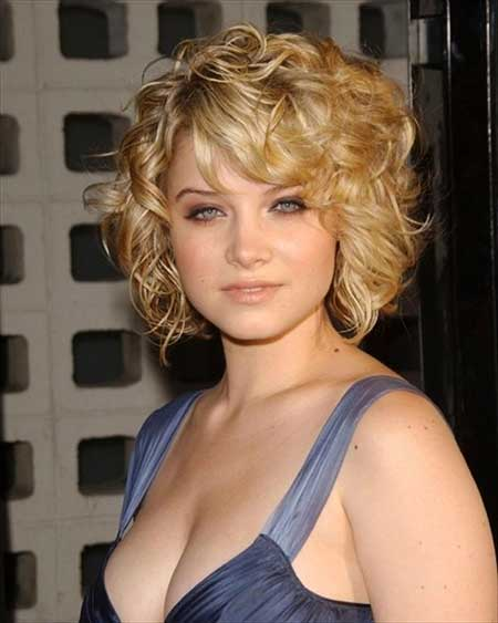 Golden Blonde Curly Bob Cut
