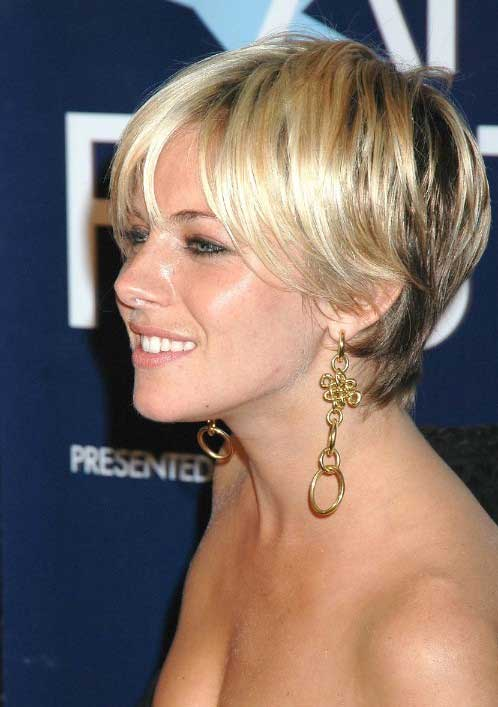 Sienna Miller Soft Feminine Short Hairstyles with Highlights