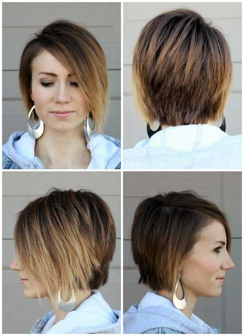 Straight Ombre Colored Asymetric Long Pixie