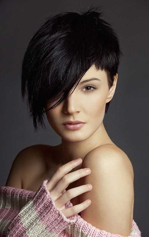 Black Long Pixie Haircut for Long Face