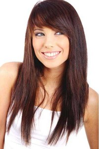 Long Straight Hairstyle With Side Bangs