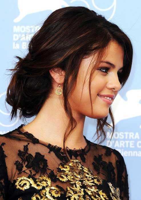 Selena Gomez Messy Updo Side