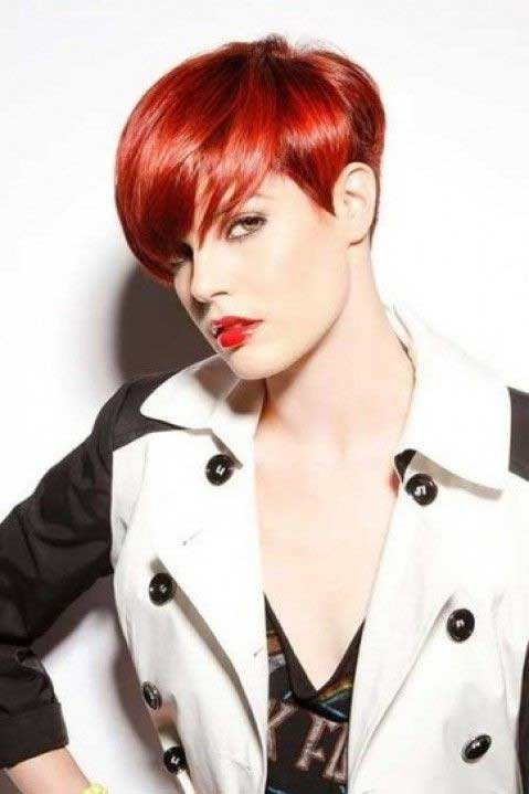 Short Red Haircut for Straight Hair